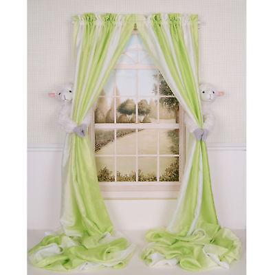 Set Of 2 Curtain Critters Baby Nursery Peaceful Farm Lamb Curtain Tiebacks