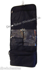 Black Hanging Cosmetic Case Toiletry Travel Roll Up Makeup Bag