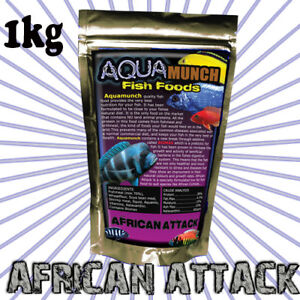 AQUAmunch African Cichlid Aquarium Fish Food 3mm Pellet 1Kg Tropical Sinking