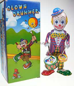 WIND-UP-TIN-TOY-CLOWN-BEATING-DRUM-IN-BOX-21cm
