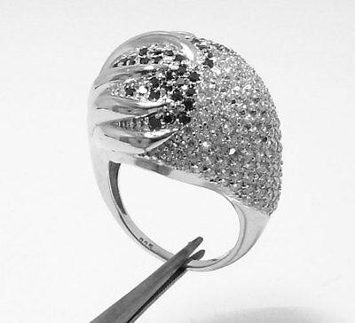 Diamonique Clear & Black Pave Cz Ring Silver Qvc S 9