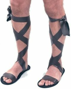 Brown-Roman-Sandals-Toga-Party-Greek-Gladiator-Spartacus-Ceaser-Fancy-Dress