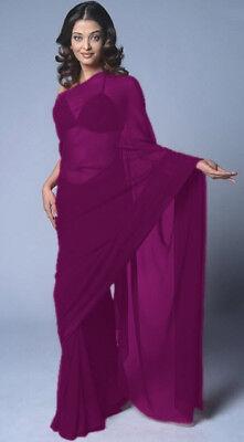 Black-Bollywood-Plain-Chiffon-Party-Wear-Saree-Sari-BellyDance-Drape-19-Color-NW