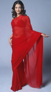 Red-Bollywood-Plain-Chiffon-Party-Wear-Saree-Sari-BellyDance-Curtain-19-Color-NW