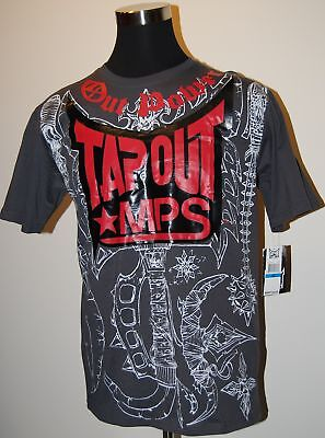 Tapout Mps out Power S/s Logo Tee Gray/red Msrp $24