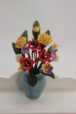 Dolls House Beautiful Colourful Flower Arrangement In Vase - Free Delivery