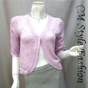 Chic-Eyelet-Sweet-Cardigan-Sweater-Top-Light-Purple-XS