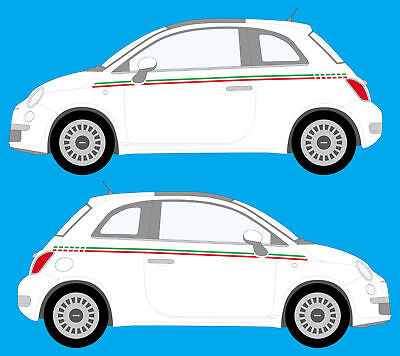 fiat 500 italian flag stripe style decals stickers ebay. Black Bedroom Furniture Sets. Home Design Ideas