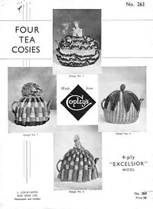 VINTAGE KNITTING/CROCHET PATTERN 1930s 4 TEA COSIES