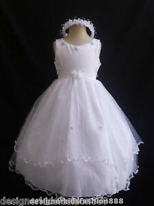 New-White-party-pageant-wedding-dancing-tulle-flower-girl-dress-size-2-4-6-8-12