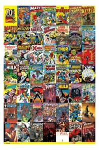 MARVEL 70 YEARS COMIC COVERS POSTER 60x90cm NEW Hulk Thor Captain America X-men