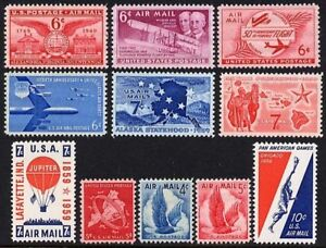 US Scott # C38 / C56 1948 - 1959  Airmails MNH