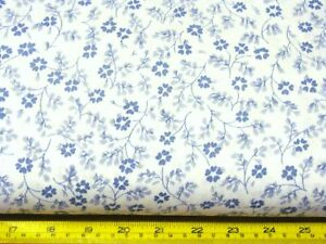 BTY BLUE FLORAL CALICO ON WHITE COTTON BLEND FABRIC 44