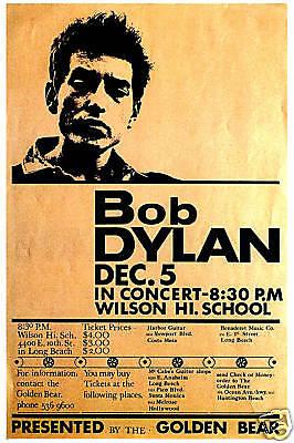 Folk-Rock Master: Bob Dylan at Wilson High Long Beach Concert Poster Circa 1964