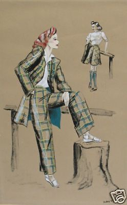 5 Original Finely Detailed 1930's High Fashion Drawings by Dudley - Dudley Costumes