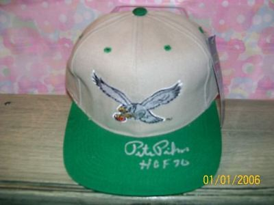 PETE PIHOS SIGNED THROWBACK EAGLES HAT HOF70 RARE! #3 RIP!