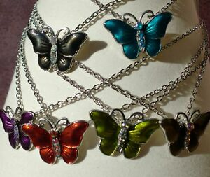Wholesale-Job-Lot-of-6-Enamel-Butterfly-Necklaces-in-6-Different-Colours