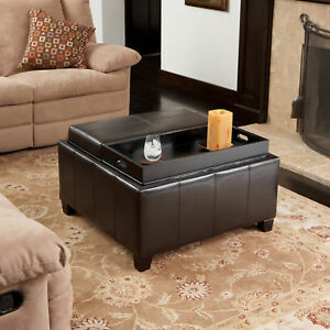 Two 2 Tray Top Espresso Brown Leather Storage Ottoman