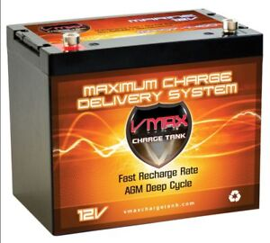 Vmax mr96 12v agm deep cycle marine battery for 40 50lb for Marine trolling motor batteries