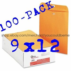 ★ 100 BUSINESS ENVELOPES 9x12 Kraft Clasp manila shipping catalog yellow brown ★
