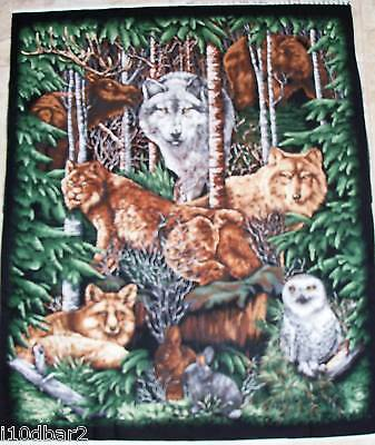 Wolf Fabric Panel Woodhaven Animal Owl Quilt Top Wallhanging Animals In The Wood