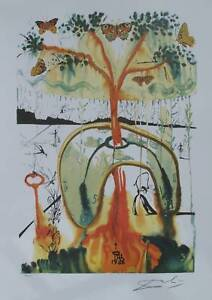Salvador-Dali-Signed-L-E-Lithograph-MAD-TEA-PARTY-from-ALICE-IN-WONDERLAND-SUITE