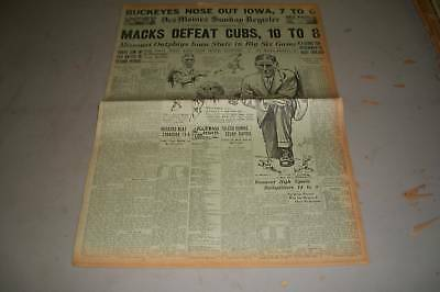 1929 October 13 Des Moines Register Newspaper Macks As Defeats Cubs   Np 808