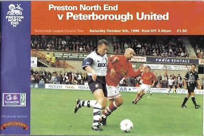 Football Programme>PRESTON NORTH END v PETERBOROUGH UTD Oct 1996