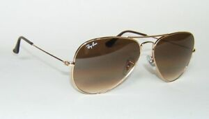 RAY BAN RB 3025 001/51 GOLD BROWN GRADIENT AVIATOR SUNGLASSES 55 mm SMALL