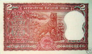 SUPERB OLD RED BANKNOTE of INDIA w BENGAL TIGER! CRISP UNCIRC Tomorrow's Rarity!