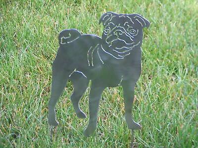 Pug Dog Yard Garden Art Statue Metal Stake