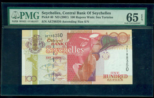 PMG ND 2001 Seychelles Pick #40 100 Rupees Gem-66 Epq NT0084
