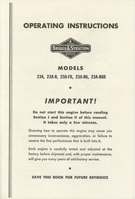 BRIGGS & STRATTON OWNERS SERVICE PARTS MANUAL 23 23A 23AB 23AFB ENGINE MOTOR BS