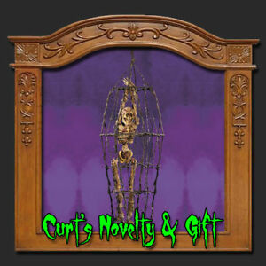 SKELETON-IN-METAL-CAGE-Halloween-Haunted-House-Prop