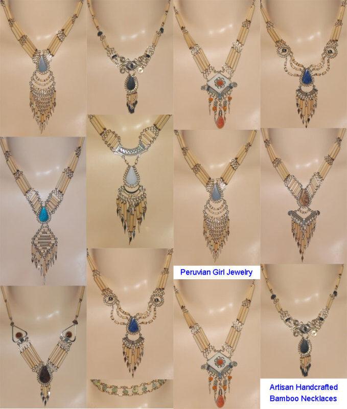16 Necklaces Natural Stone Bamboo Peruvian Jewelry Lot South American Art Peru