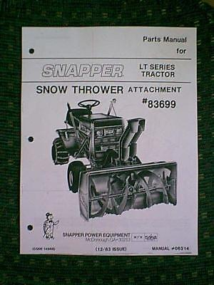 SNAPPER LT TRACTOR SNOW BLOWER ATTACHMENT #83699 MANUAL