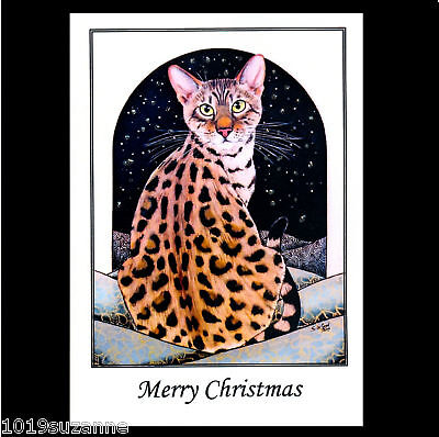 NEW BENGAL CAT GLITTER CHRISTMAS CARDS SUZANNE LE GOOD