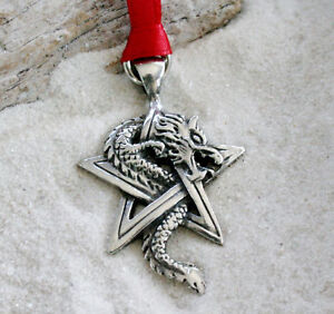 PENTAGRAM-DRAGON-STAR-Pewter-Christmas-ORNAMENT-Holiday