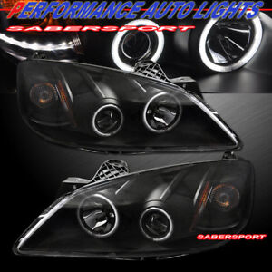2005-2010 PONTIAC G6 DUAL CCFL ANGEL EYE HALO PROJECTOR HEADLIGHTS w/ LED BLACK