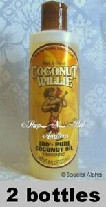 Hawaiian-COCONUT-WILLIE-UNSCENTED-100-Pure-COCONUT-OIL-Hawaii-New-8oz-2-Bottle