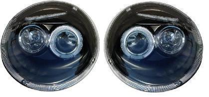 VW BEETLE 98-05 BLACK ANGEL EYE HEADLIGHTS - 1 PAIR NEW