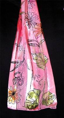Scarf Peach Soft Pink Green Blue Black Stylish Flowers