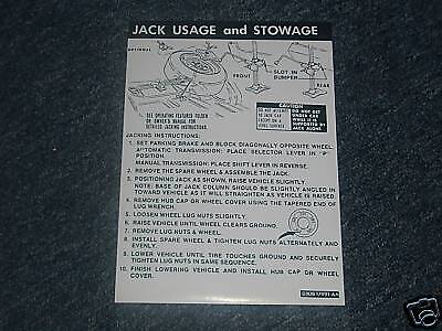 1973 Ford Thunderbird Trunk Jack Instructions Decal