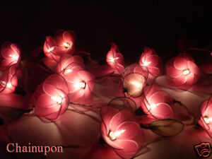 flower lights for bedroom 20 pink flowers string patio floral decor 15271