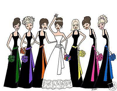 Bridal Cards Wedding Black Dresses Colored Sashes 6