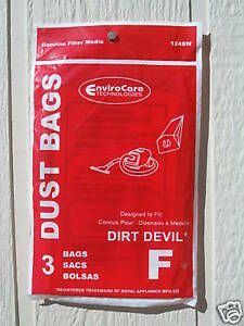 9 Dirt Devil Royal Vacuum Type F Canister Bags Fast