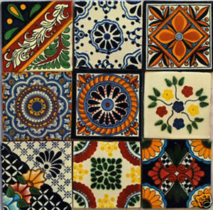 W137-Set-of-9-Mexican-Tiles-Hand-Made-Talavera