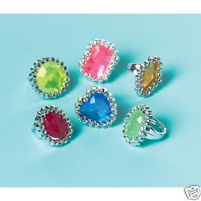 18 X GEM RINGS Girls Party Bags Fillers Toys Princess
