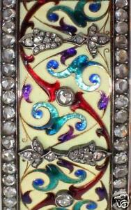 NEO-GOTHIC-ISLAMIC-18-K-GOLD-DIAMONDS-BRACELET-ENAMEL