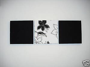 3-MODERN-FAUX-SUEDE-BLACK-WHITE-FLOWERED-WALLHANGINGS